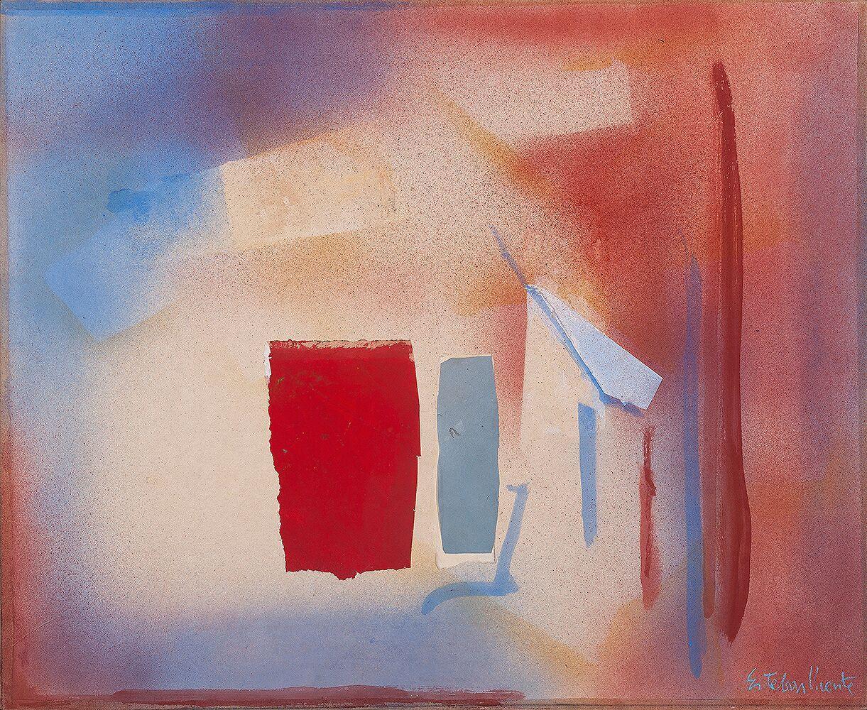 Esteban Vicente. Sin título, 1988. Técnica mixta y collage sobre tela. 71 x 86,5 cm.