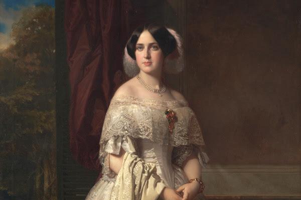 Detalle del retrato Josefa del Águila Ceballos, luego marquesa de Espeja. Federico de Madrazo y Kuntz. 1852. Museo Nacional del Prado. Donación de Alicia Koplowitz, 2018.