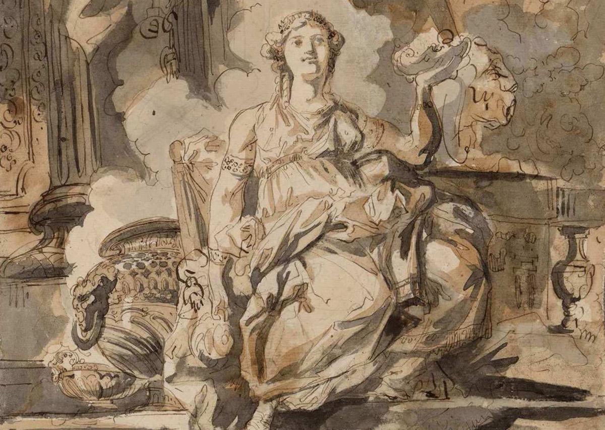 Vesta o Artemisa, Luis Paret y Alcázar, 1766-1770. Lápiz, pluma y aguadas negra, gris y parda sobre papel verjurado agarbanzado. BNE [DIB/13/4/26].