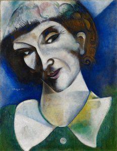 Marc Chagall. Autorretrato (Portrait de l'artiste), 1914. Óleo sobre cartón, montado sobre lienzo 50,5 x 38 cm. Depósito permanente en el Kunstmuseum Basel.