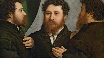 Retrato triple de orfebre (Bartolomeo Carpan?). Lorenzo Lotto. h 1525 - 1535. Viena, Kunsthistorisches Museum, Gemäldegalerie.