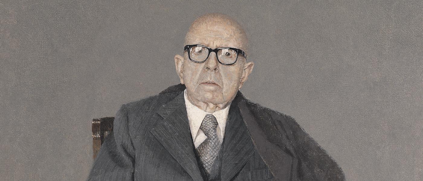 'Dámaso Alonso', 1984. Hernán Cortés. Óleo sobre lienzo, 100 x 100 cm. Colección Real Academia Española. Madrid.