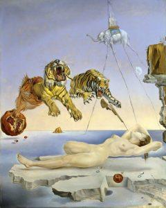 Salvador Dalí. Somni causat pel vol d'una abella al voltant d'una magrana un segon abans de despertar, c. 1944. Museo Nacional Thyssen-Bornemisza, Madrid. © Salvador Dalí, Fundació Gala-Salvador Dalí, VEGAP, Barcelona, 2018.
