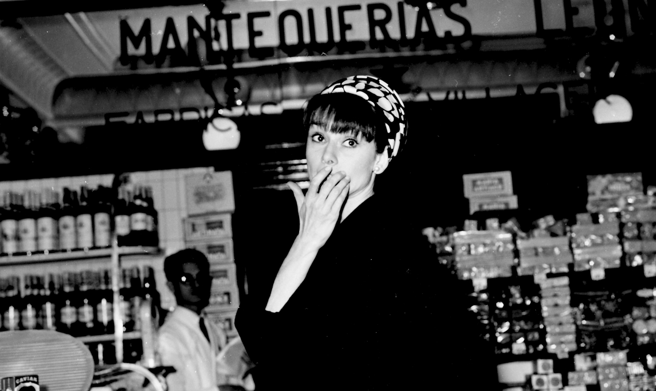 Audrey Hepburn shopping in Madrid, 1966, Madrid, Spain. (Photo by Gianni Ferrari / Cover / Getty Images).
