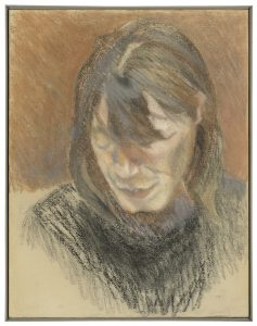 Lucien Freud, Head of a Woman, pastel sobre papel pegado a lienzo, 60,8 x 47 cm, circa 1980.
