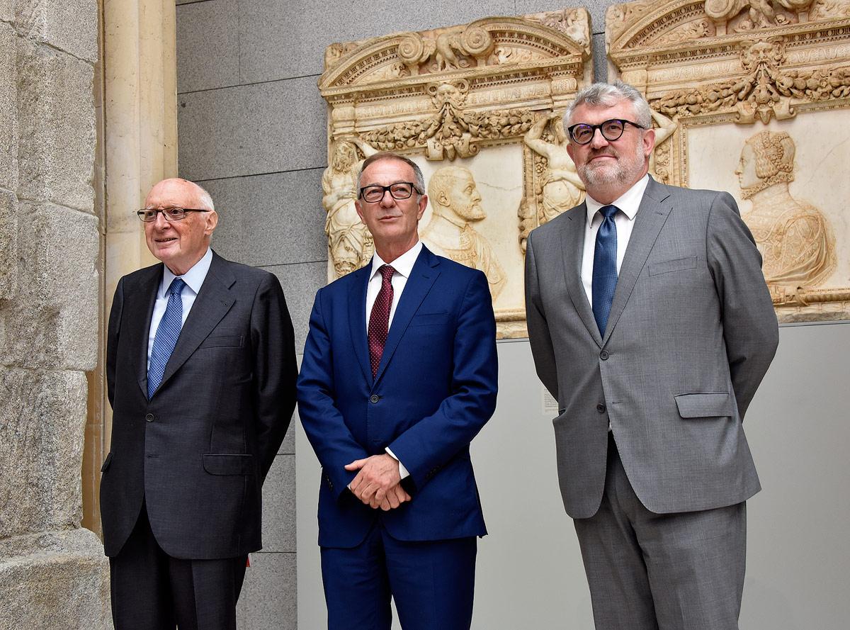 El presidente del Real Patronato del Museo del Prado, José Pedro Pérez-Llorca, el ministro de Cultura y Deporte, José Guirao, y el director del Prado, Miguel Falomir.