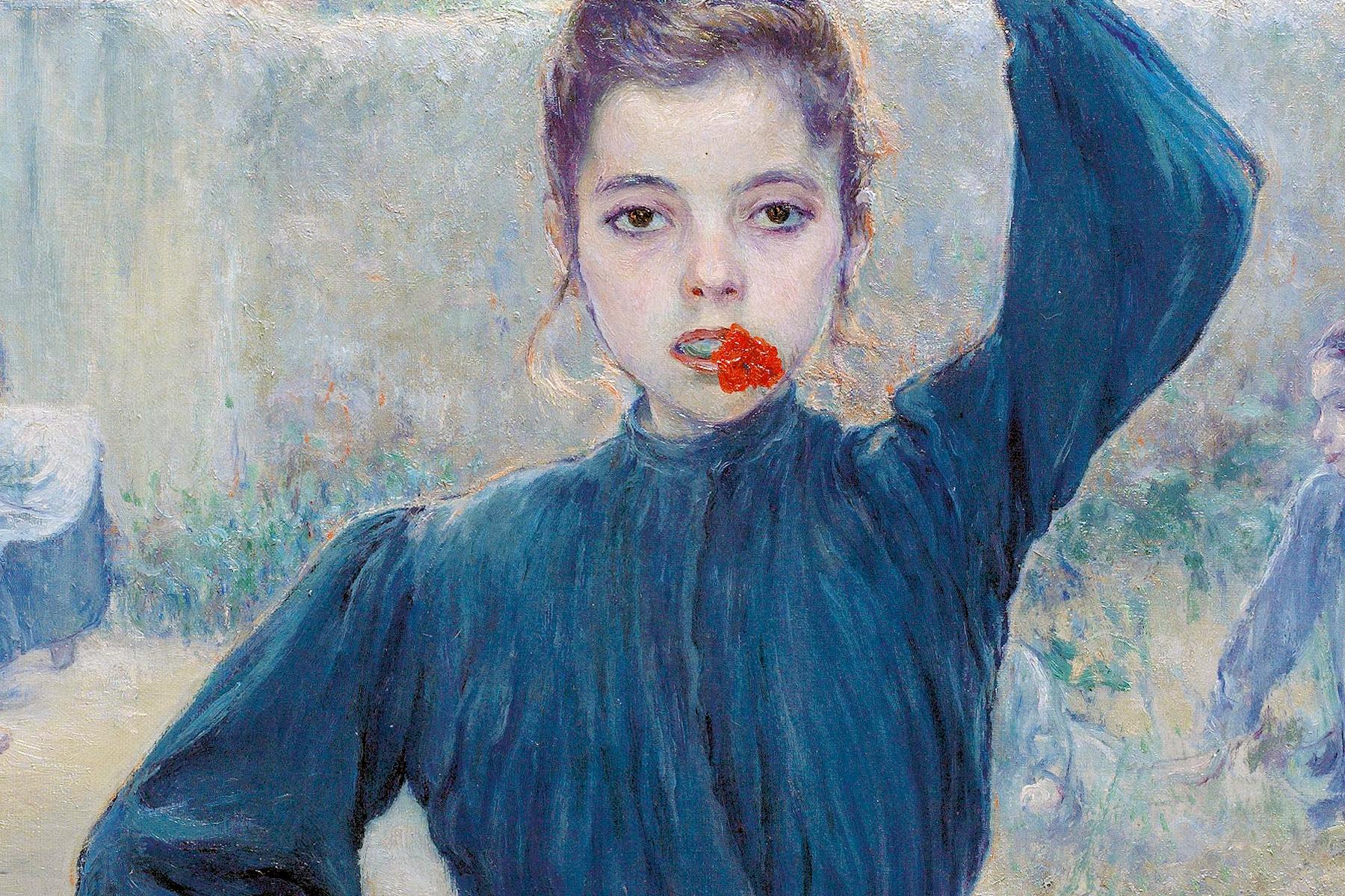 Adolfo Guiard (Bilbao, 1860 - Bilbao, 1916). La aldeanita del clavel rojo, 1903. Óleo sobre lienzo, 73 x 60 cm.