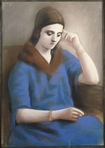 Pablo Picasso (1881-1973) Olga pensativa, invierno 1923. Pastel y lápiz negro sobre papel vitela , 105 x 74 cm. Musée national Picasso-Paris, Dation Pablo Picasso, 1979. MP993.