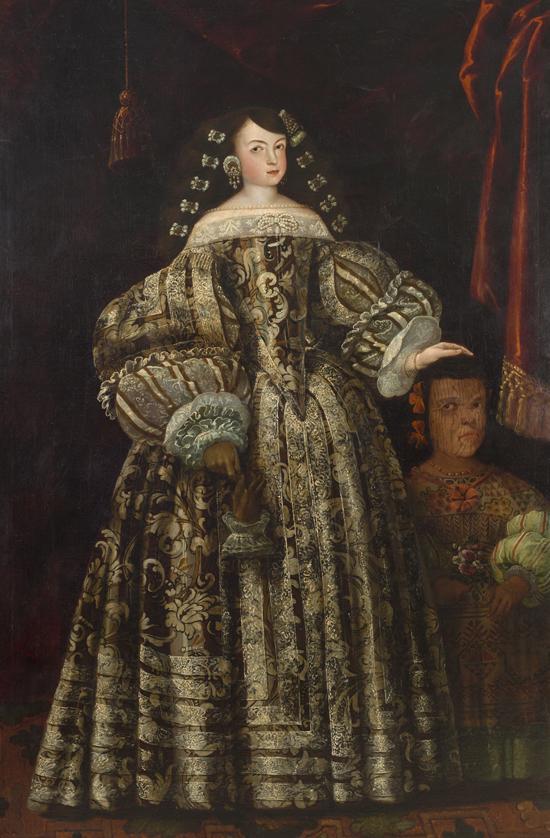 Retrato de Dª María Luisa de Toledo con su acompañante indígena. Atribuido a Antonio Rodríguez, hacia 1670. México. Depósito del Museo Nacional del Prado. Fotografía de Alberto Otero.