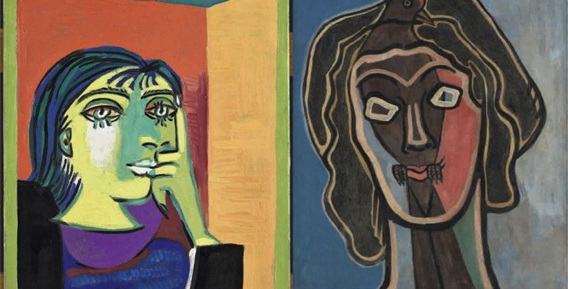 Pablo Picasso, Retrato de Dora Maar, 1937. Musée national Picasso-Paris. © Sucesión Pablo Picasso, VEGAP, Madrid, 2018. Francis Picabia, Habia II, ca. 1938 y ca. 1945. Ursula Hauser Collection, Suiza. © Francis Picabia, VEGAP, Madrid, 2018
