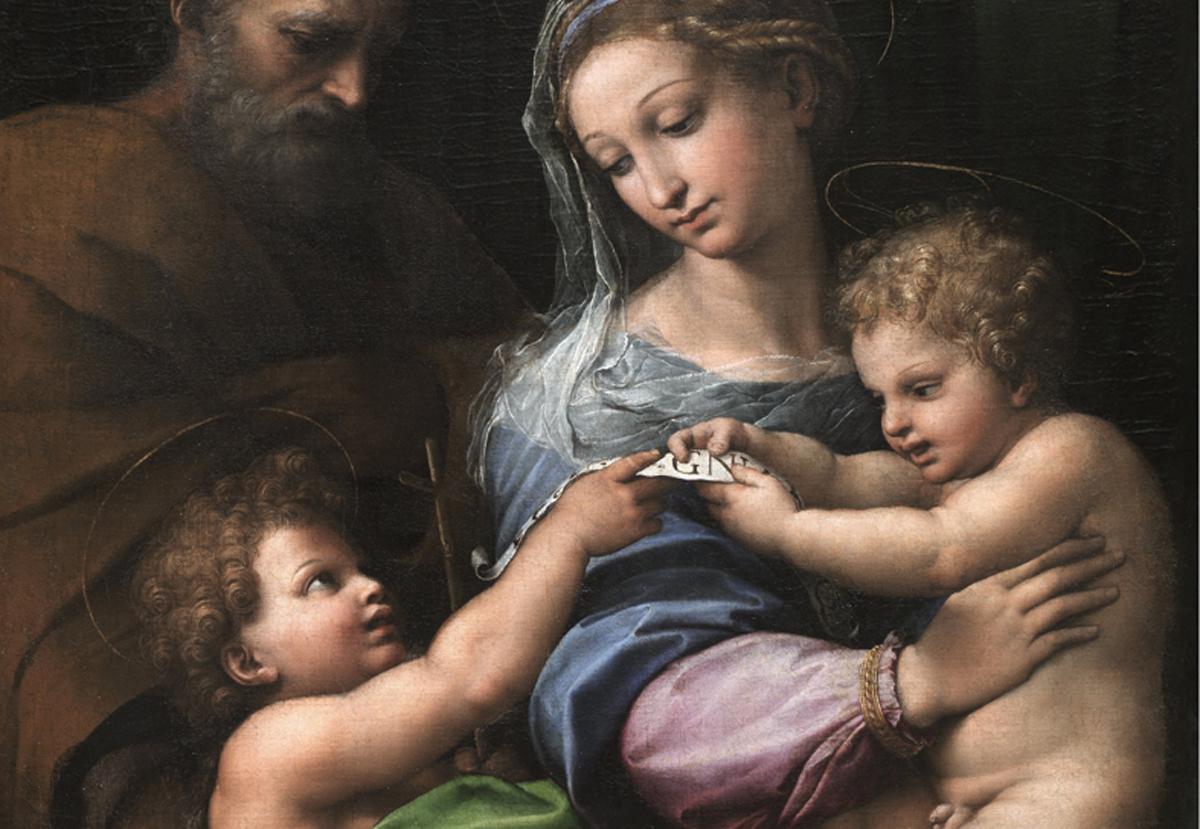 Detalle de La Virgen de la rosa de Rafael. Hacia 1517. Museo Nacional del Prado.