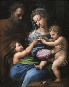 'La Virgen de la rosa' de Rafael. Hacia 1517. Museo Nacional del Prado.