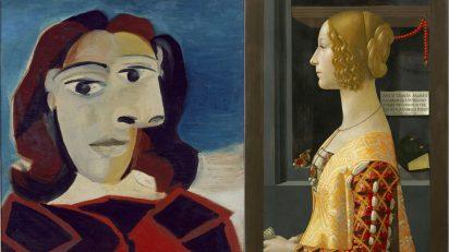 Pablo Picasso. Retrato de Dora Maar (1939). Museo Nacional Centro de Arte Reina Sofía. Domenico Ghirlandaio. Retrato de Giovanna degli Albizzi Tornabuoni (1489-1490). Museo Nacional Thyssen-Bornemisza.