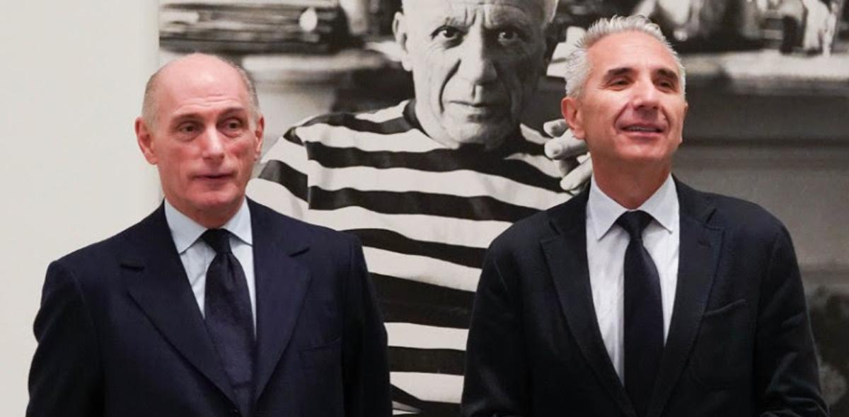 Bernard Ruiz-Picasso junto al consejero andaluz de Cultura, Miguel Ángel Vázquez. Foto: Jesús Domínguez © Museo Picasso Málaga.