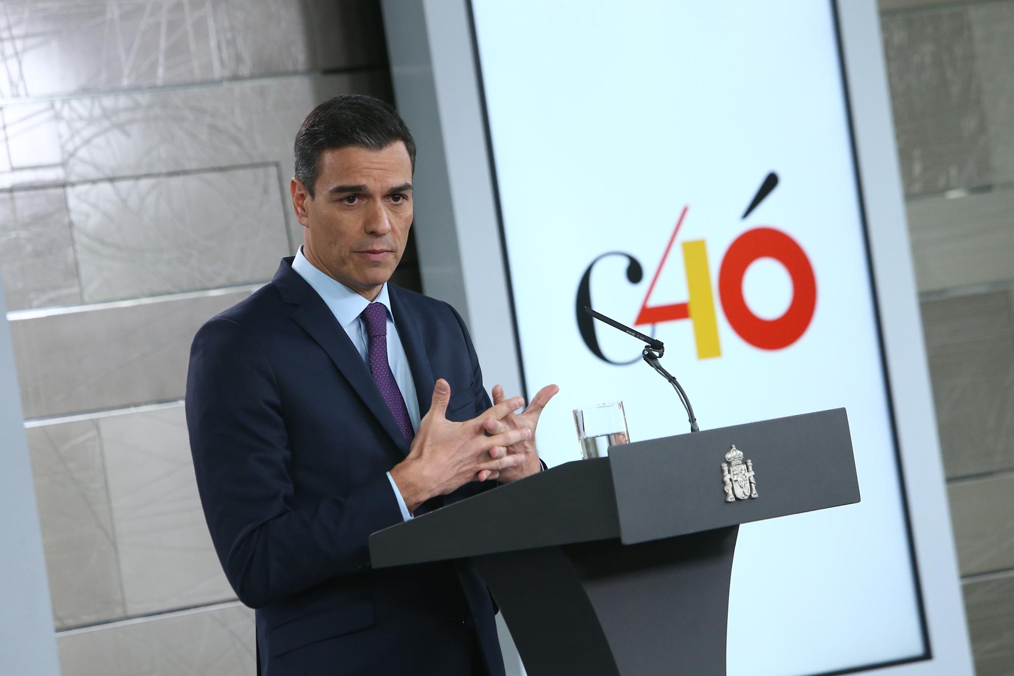 El presidente del Gobierno, Pedro Sánchez, durante la rueda de prensa posterior al Consejo de Ministros en la que ha ofrecido el balance de gestión del Gobierno. Pool Moncloa/Fernando Calvo.