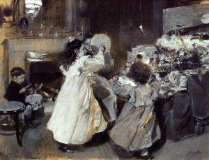 Esta Noche es Nochebuena. Joaquí Sorolla y Bastida (1863-1923). Aguazo sobre papel. Fundación Rodríguez Acosta.