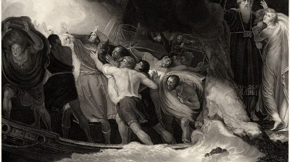 The shipwreck in Act I, Scene 1, in a 1797 engraving by Benjamin Smith after a painting by George Romney.