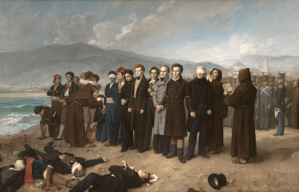 Fusilamiento de Torrijos y sus compañeros en las playas de Málaga Antonio Gisbert Pérez Óleo sobre lienzo 390 x 601 cm. 1888. Museo Nacional del Prado.