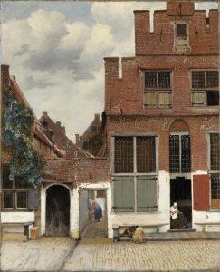 Vista de casas en Delft. Vermeer h. 1658 Amsterdam, Rijksmuseum. Gift of H.W.A. Deterding, London.