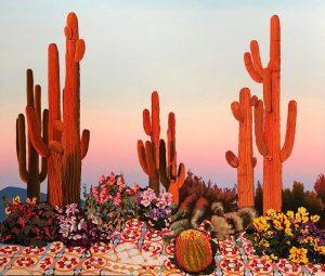 """Alejandra Atarés, """"Cactus naranjas"""", óleo y acrílico sobre lino, 2018. Víctor Lope Arte Contemporáneo."""
