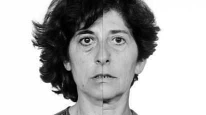 Esther Ferrer. Autorretrato en el tiempo, de la serie. El Libro de las Cabezas, 1981-2009. Instalación de 36 fotografías. Museo de Arte Contemporáneo de Castilla y León (MUSAC).