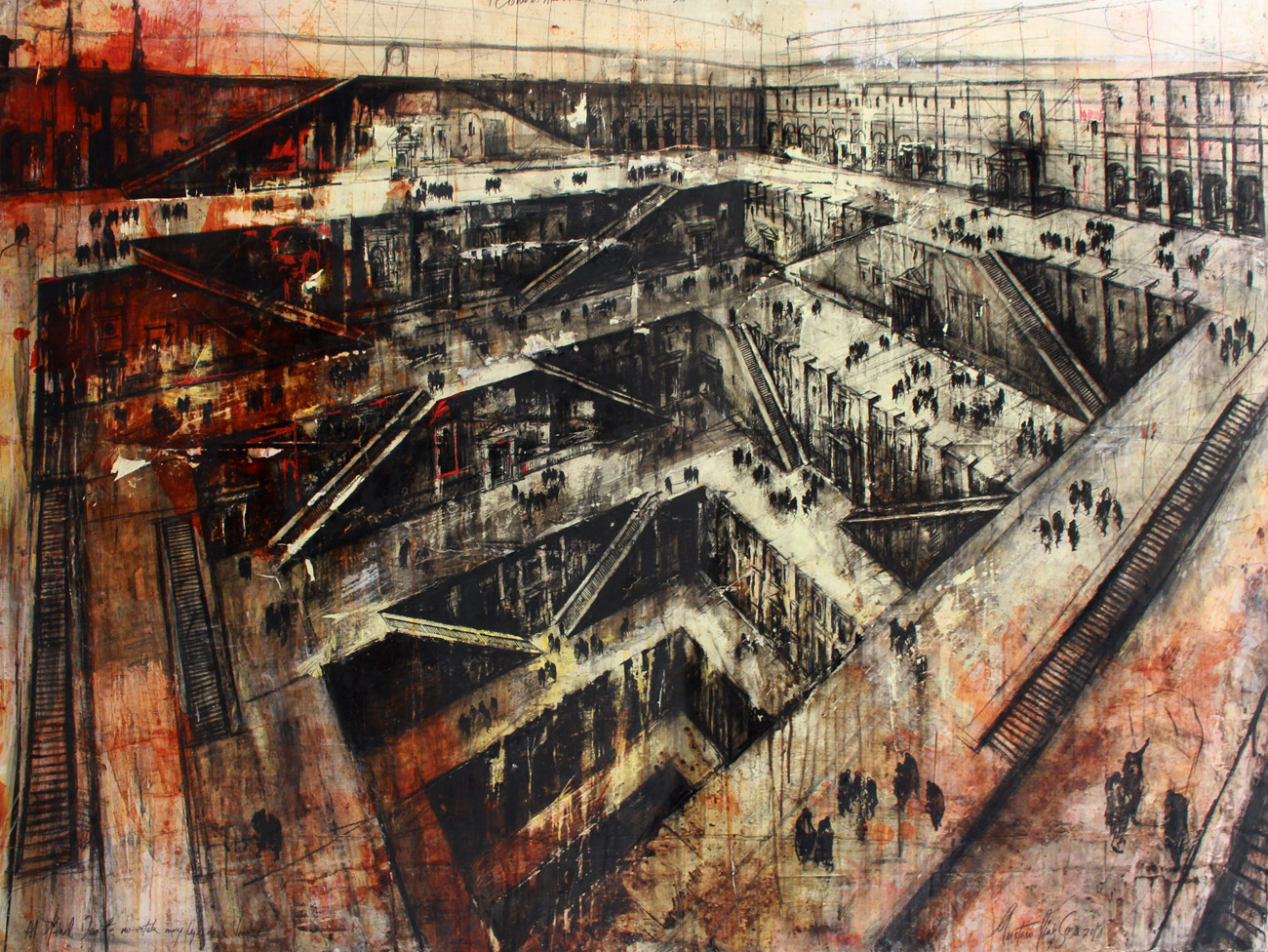 Gustavo Díaz Sosa. Como es arriba es abajo como es dentro es fuera. De la serie de los circulos de Dante, 2019. Técnica mixta sobre lino. 150 x 200 px.