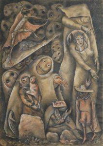 Laxeiro, sin título, 1937. técnica mixta sobre papel, 68 x 48,5 cm. Colección particular.