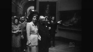 """""""La Primera Dama Argentina visita el Museo del Prado"""", noticia extraída de NO-DO, 1947. Imágenes cedidas por Filmoteca Española."""