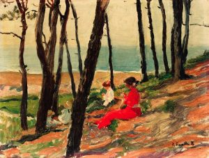 La familia de Sorolla sentada entre pinos.