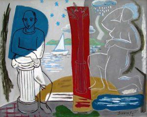 Lorenzo González. VERANO MEDITERRÁNEO. Óleo/tela, 81×100 cm.