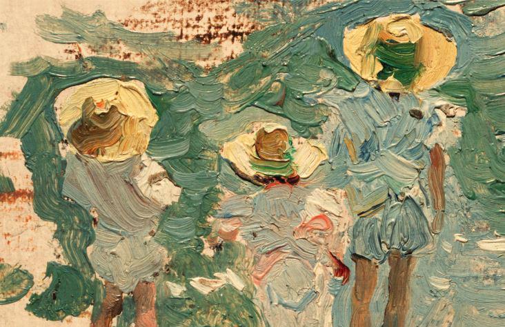 Joaquín Sorolla. Joaquín, María y Elena Sorolla García, 1897. Óleo sobre tabla 7,5 x 12 cm. Museo Sorolla, inv. 422.
