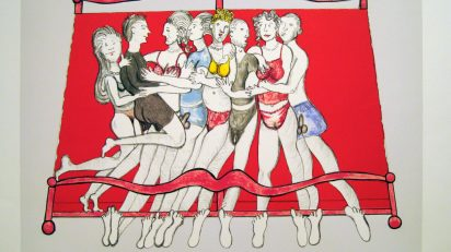 Bourgeois, Louise. Eight in Bed, 2000. Litografía gofrada. 52 x 59,5 cm.