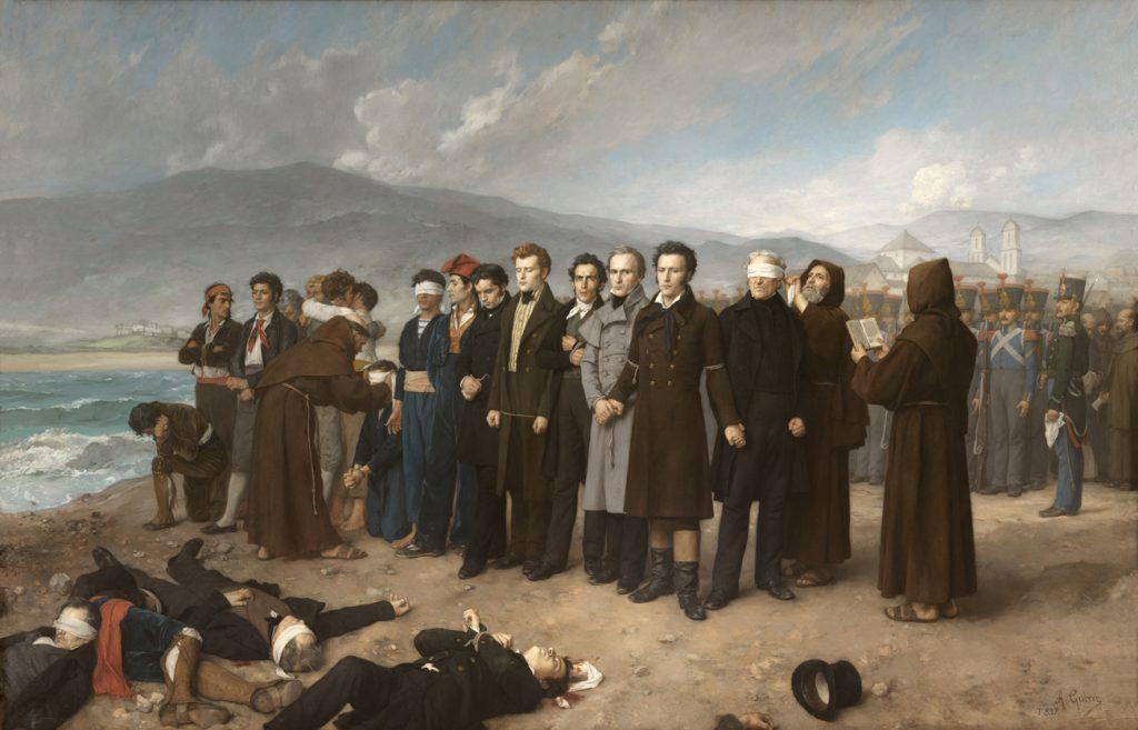 Fusilamiento de Torrijos y sus compañeros en las playas de Málaga. Antonio Gisbert. Óleo sobre lienzo, 390 x 601 cm. 1888. Madrid, Museo Nacional del Prado.
