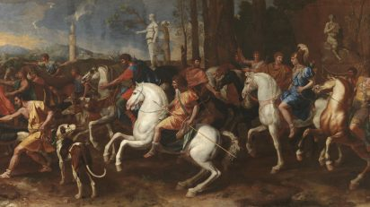 La caza de Meleagro. Nicolás Poussin. Óleo sobre lienzo, 160 x 360 cm 1634 – 1639. Madrid, Museo Nacional del Prado.
