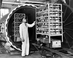 Producción en masa de penicilina.
