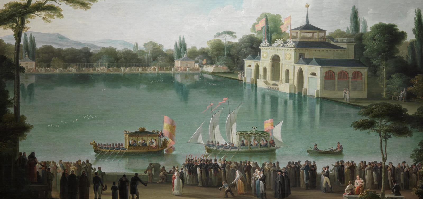 Detalle de Embarque Real en el estanque grande del Retiro, de José Ribelles.