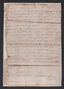 Carta hológrafa de Cristóbal Colón a su hijo Diego, Sevilla, 25 de noviembre de [1504].