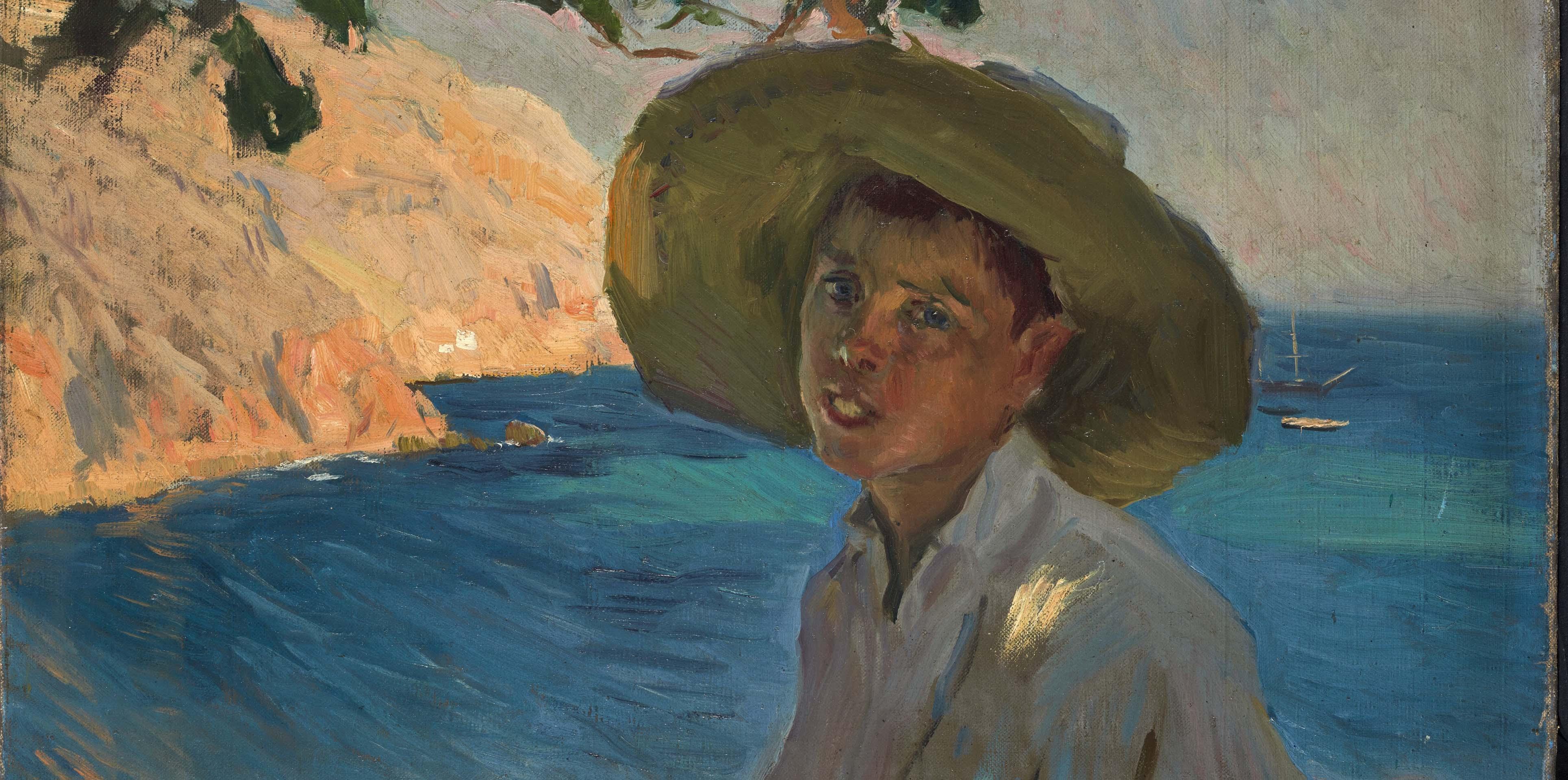 Galería Jorge Alcolea. Joaquín Sorolla. 'Chico con sombrero, Jávea'.