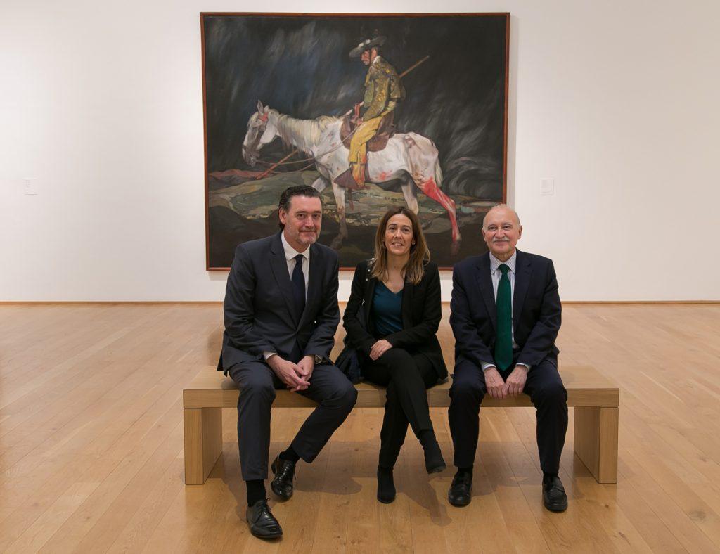 Miguel Zugaza, director del Museo de Bellas Artes de Bilbao; Nora Sarasola, directora de Obra Social BBK; y Gorka Martínez, director general de BBK.