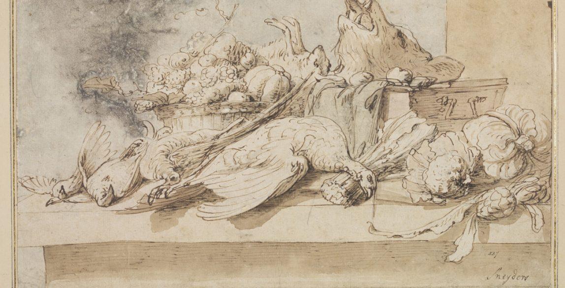 Frans Snyders (1579-1657). Bodegón con caza sobre la mesa, sobre 1615. Pluma y tinta marrón, con aguada marrón, y aguada gris sobre papel. Imagen © Victoria and Albert Museum.