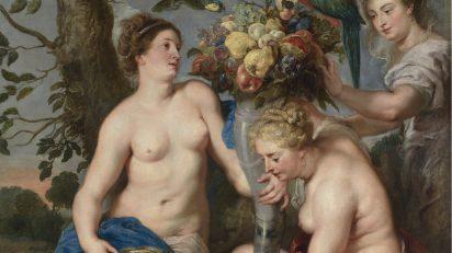 Ceres y dos ninfas Rubens; Snyders 1615 - 1617. Óleo sobre lienzo, 224,5 x 166 cm. Museo Nacional del Prado.
