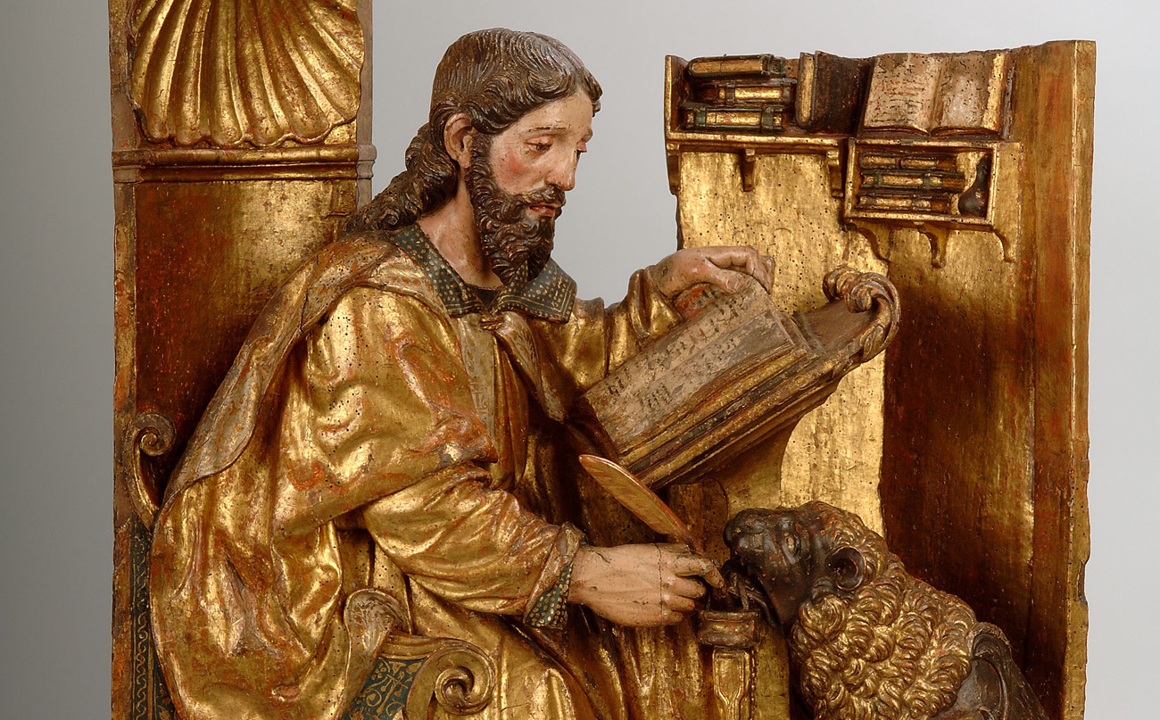 Atribuido a Felipe Bigarny (Felipe de Borgoña). San Marcos (Los cuatro Evangelistas). 1501-1525. © Museo Nacional de Escultura. Foto: Javier Muñoz y Paz Pastor.
