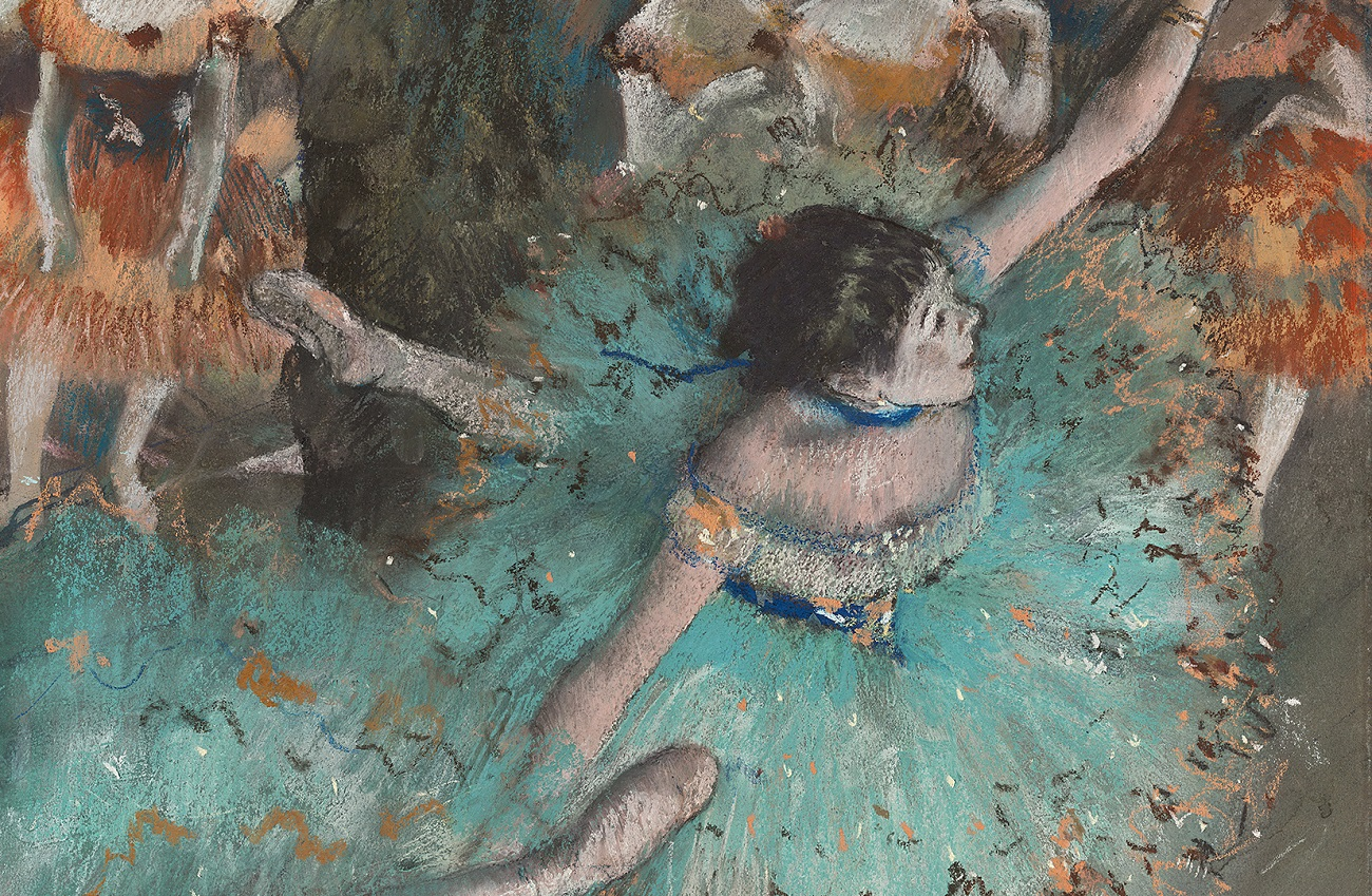 Edgar Degas. Bailarina basculando (Bailarina verde), 1877-1879. Pastel y gouache sobre papel. 64 x 36 cm. © Museo Nacional Thyssen-Bornemisza, Madrid.