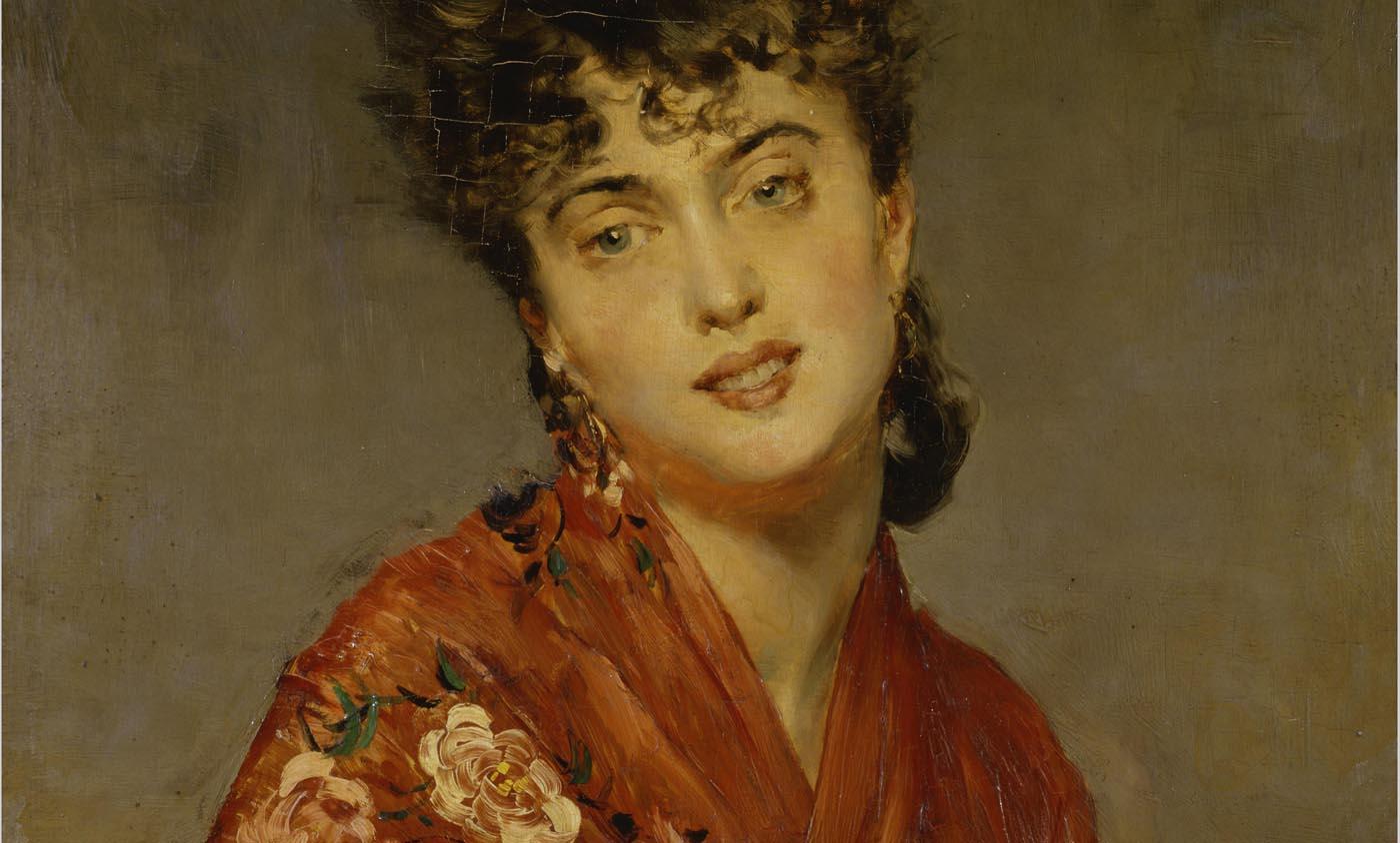 Giovanni Boldini. Scialle rosso [El mantón rojo], c. 1880. Colección particular. Cortesía de Galleria Bottegantica, Milán.
