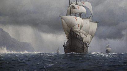 """""""Nao Victoria cruzando el Estrecho de Magallanes"""", obra del pintor chileno Guillermo Muñoz Vera."""