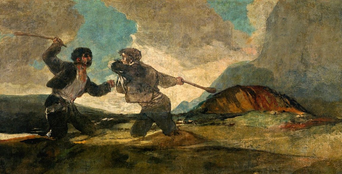 'Duelo a garrotazos' o 'La riña' es una de las 'Pinturas negras' que Goya realizó para la decoración de los muros de la Quinta del Sordo que adquirió en 1819.