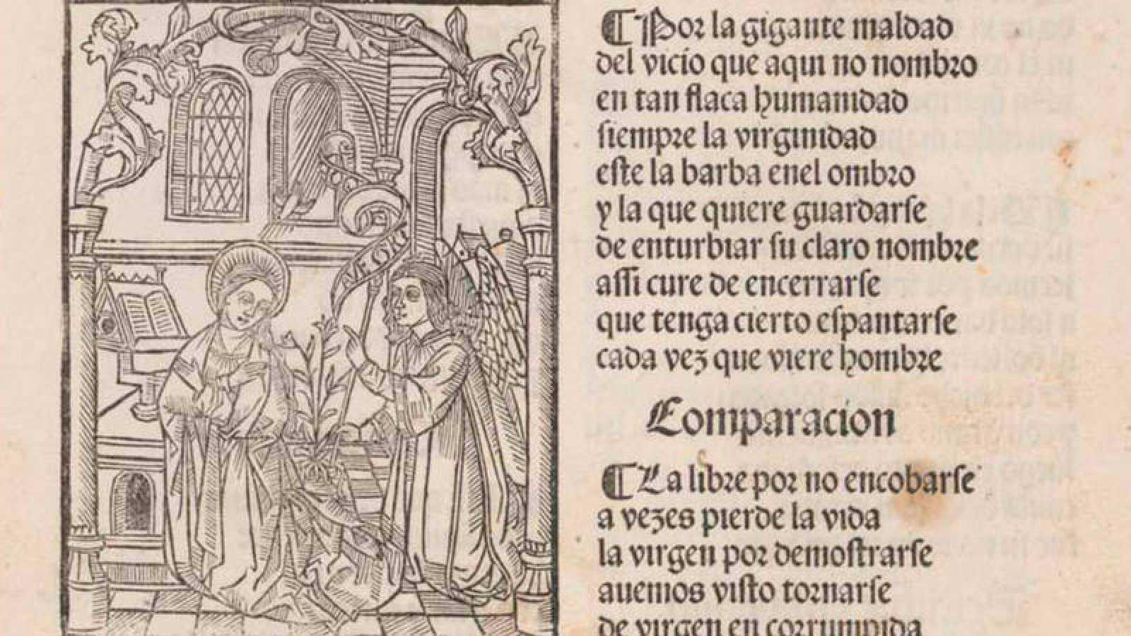 Detalle de una página del 'Cancionero de Zaragoza' de 1492 o la 'Vita Christi' de Íñigo de Mendoza.