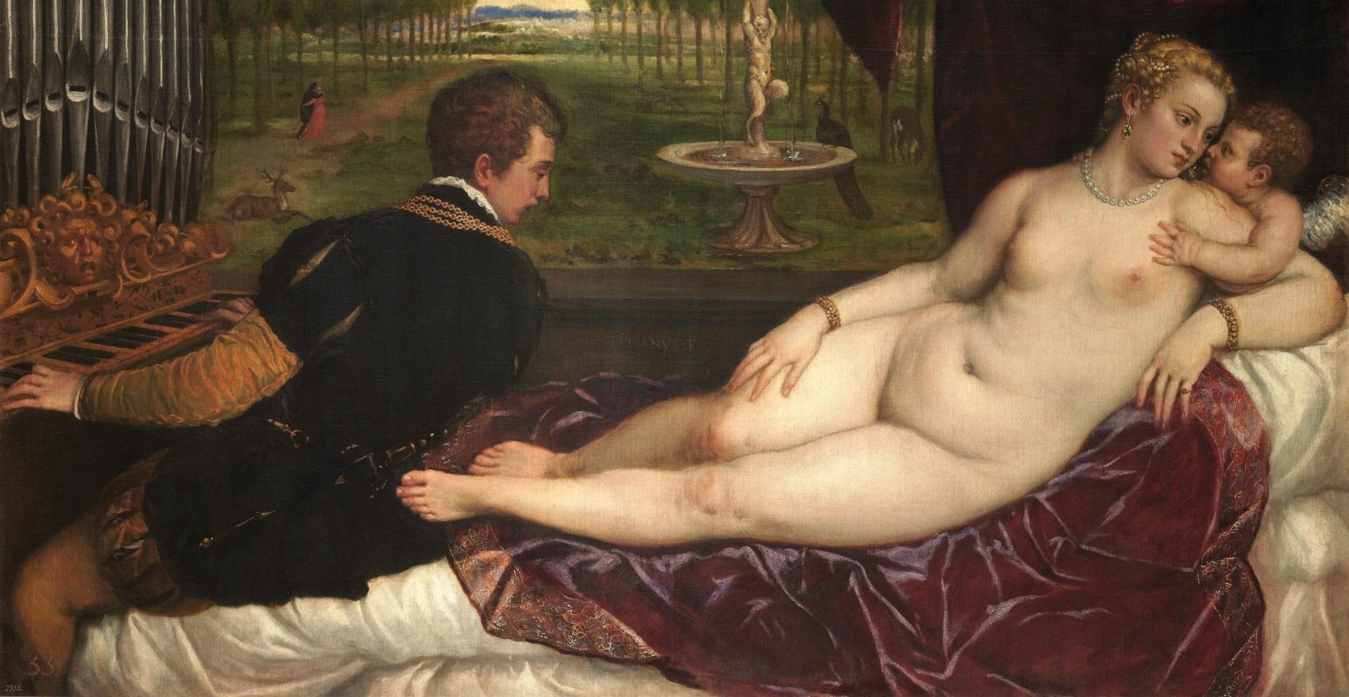 Detalle de Venus recreándose con el Amor y la Música de Tiziano. Museo Nacional del Prado.