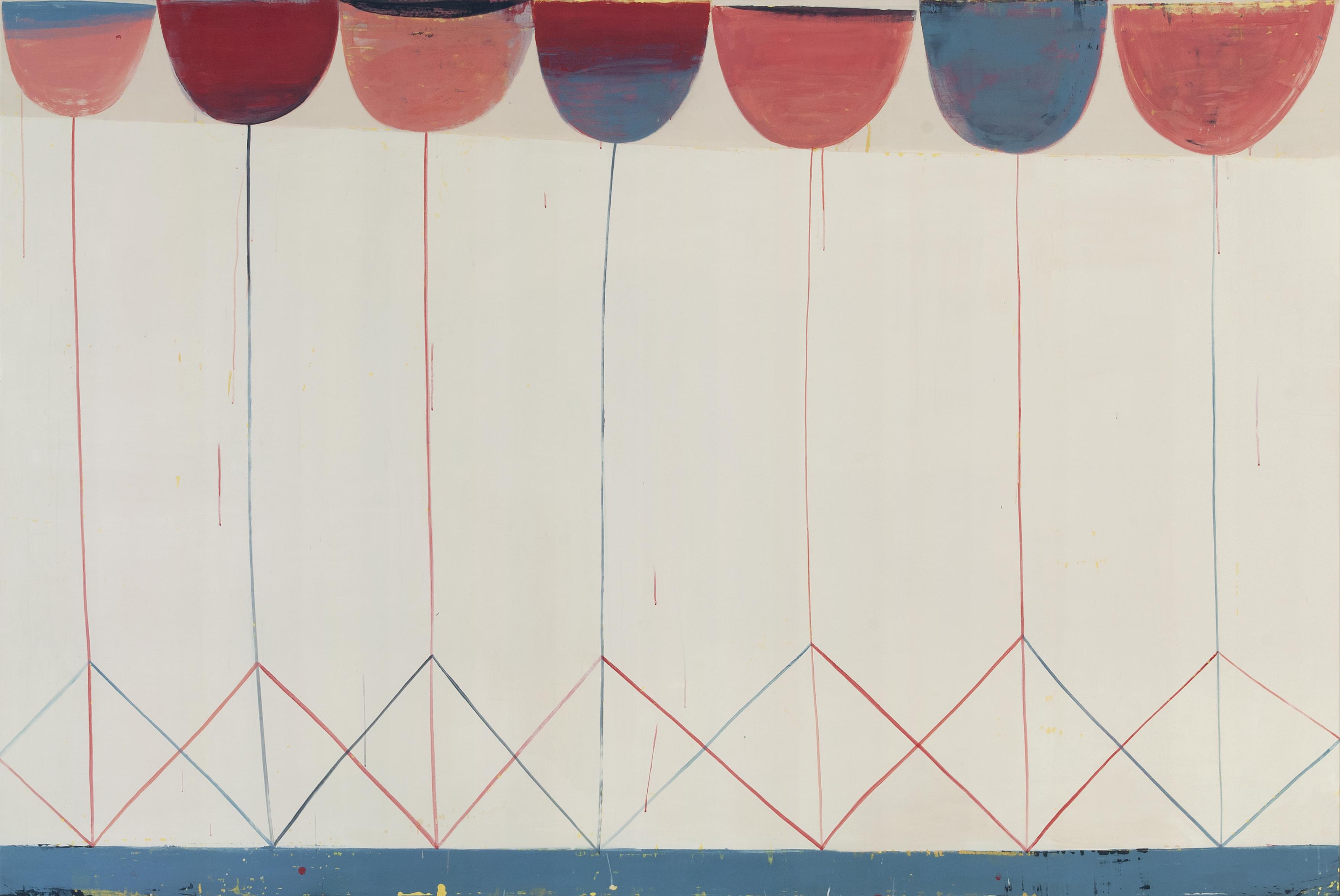 Sabine Finkenauer. Jardín, 2019. Acrílico sobre tela. 160 x 240 cm.