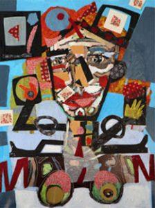 Carlos Baonza. 'Arlequín'. Óleo y collage sobre madera, 80 x 60 cm.